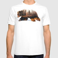 Travelling Bear Mens Fitted Tee LARGE White