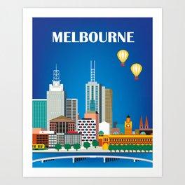 Melbourne, Australia - Skyline Illustration by Loose Petals Art Print