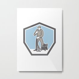 Cleaner Janitor Mopping Floor Retro Shield Metal Print