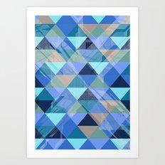 Triangles Blues  Art Print