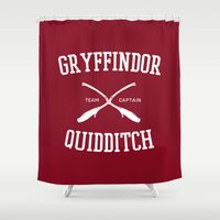 hufflepuff Shower Curtains featuring Hogwarts Quidditch Team: Gryffindor by IA Apparel