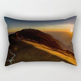 monte baldo garda lake italy drone shot aerial view sunset mountains dust path Rectangular Pillow