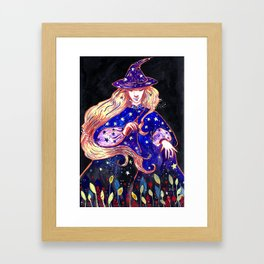 The beautiful herbal witch Framed Art Print