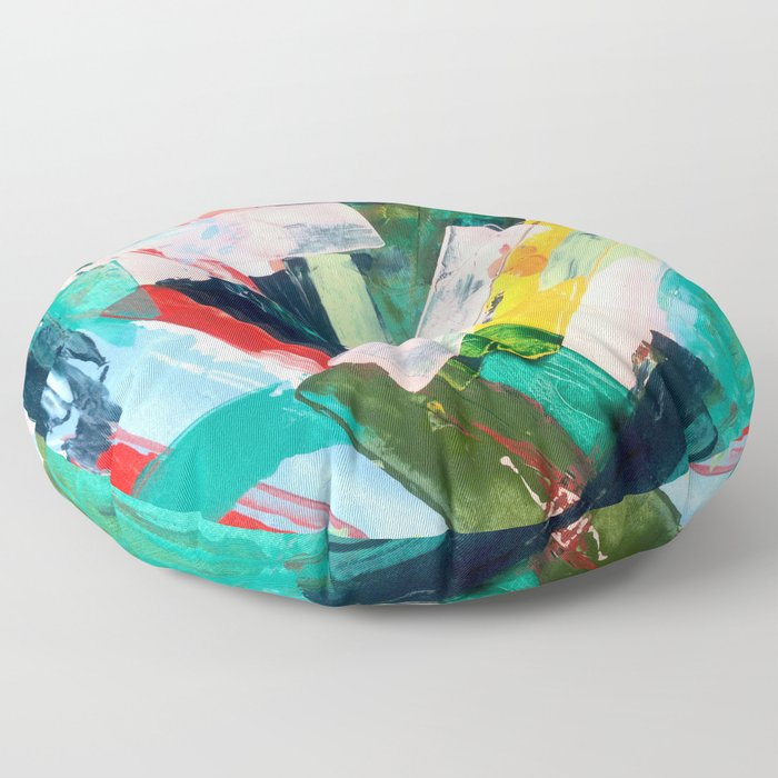 Livin' Easy - a bright abstract piece in blues, greens, yellow and red Floor Pillow