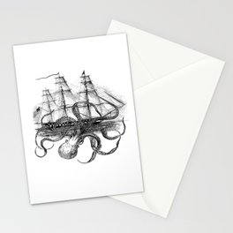 Octopus Attacks Ship on White Background Stationery Cards