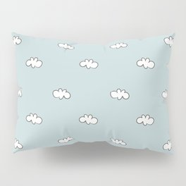Blue background with small white clouds Pillow Sham