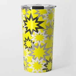 Stars silver grey - yellow background Travel Mug