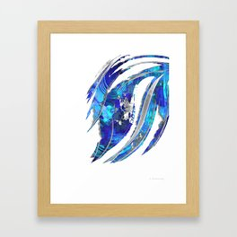 Blue and White Abstract Art - Flowing 2 - Sharon Cummings Framed Art Print