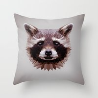 raccoon Throw Pillows featuring Raccoon by Roxy Color