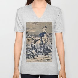 Nathaniel Currier - Washington Crossing the Delaware - Evening Previous to the Battle of Trenton, December 25th, 1776 Unisex V-Neck