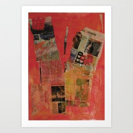 Red Collage Art Print