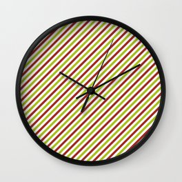 Pink and green stripes Wall Clock