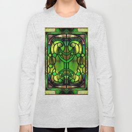 Green and Gold Stained Glass Victorian Design Long Sleeve T-shirt