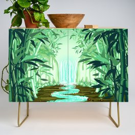Fluorescent Waterfall on Surreal Bamboo Forest Credenza