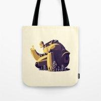 iron giant Tote Bags featuring IRON GIANT by rafael mayani