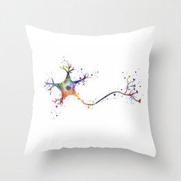 Neuron Art Brain Cell Anatomy Art Watercolor Neurology Medical Science Art Biology Gift Throw Pillow