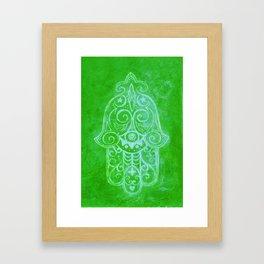 Hamsa in Green Framed Art Print