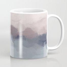 Blush Pink, Mauve Purple, Navy Light Blue, Abstract Painting, Modern Wall Art, Ocean Waves Horizon Coffee Mug
