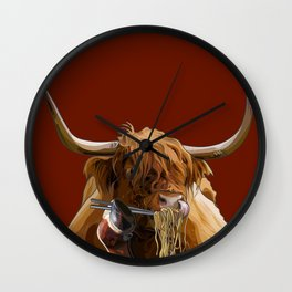 Ox Eating Noodles With Chopsticks Wall Clock