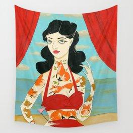 Foxy Tattooed Lady Wall Tapestry