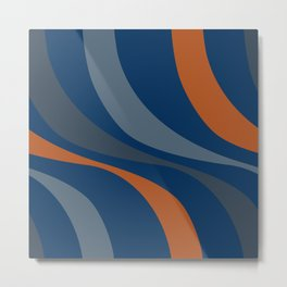 Abstract blue stripes Ancient Egyptian colorful waves Metal Print