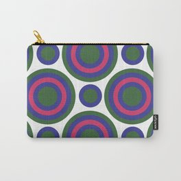 Circle Circle:  Kelly Green, Blue + Fuchsia Carry-All Pouch