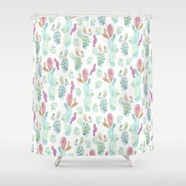 Cacti Familia Shower Curtain