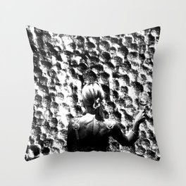 woman drinking a glass of wine on the moon Throw Pillow