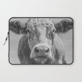 Animal Photography | Highland Cow Portrait Black and White | Farm Animals Laptop Sleeve