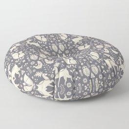 Whimsical Scandinavian Folk Forest Floor Pillow