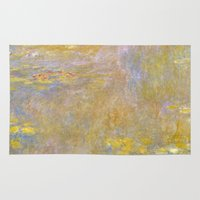 monet Area & Throw Rugs featuring Monet by Palazzo Art Gallery