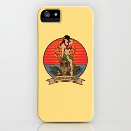 Beautiful Hula Girl Pau Hana Time with Tiki iPhone Case