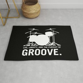 Life, Liberty, and the pursuit of Groove, drummer's drum set silhouette illustration Rug