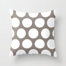 Large Polka Dots: Neutral Brown Throw Pillow