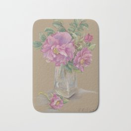 Wilde Rose bouquet in the glass Pink Rose Flowers Still Life Colorful Pastel drawing Bath Mat