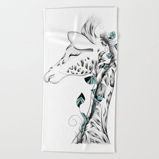 Poetic Giraffe Beach Towel