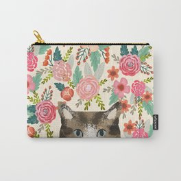 Cat floral pet portrait tabby cats Carry-All Pouch