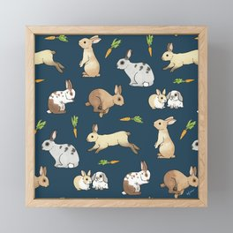 Rabbits on navy background Framed Mini Art Print