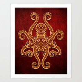 Intricate Red and Yellow Octopus Art Print