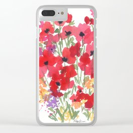 Little Red Poppy Patch Clear iPhone Case