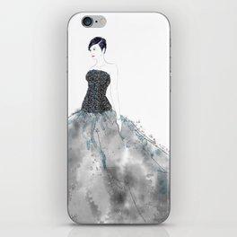 Fashion illustration long dress enbroidered bodice iPhone Skin