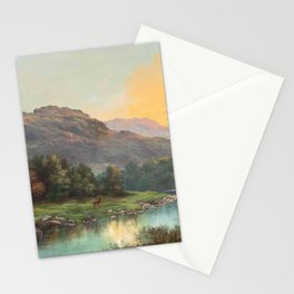 A Deer at the Edge of a Highland Stream nature landscape painting by William Henry Millais Stationery Cards