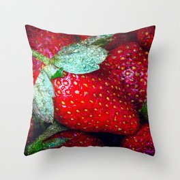 Pile Of Red Strawberries Throw Pillow
