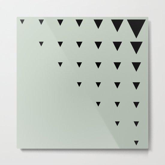 Black Triangles on Grey-Green Metal Print