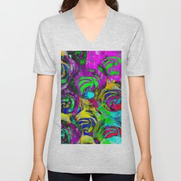 closeup rose texture pattern abstract background in pink yellow green blue Unisex V-Neck
