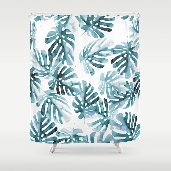 Monstera Leaves In Aqua Coral Shower Curtain