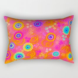 SWIZZLE STICK - Sweet Cherry Red Fruity Candy Swirls Abstract Watercolor Painting Feminine Art Rectangular Pillow