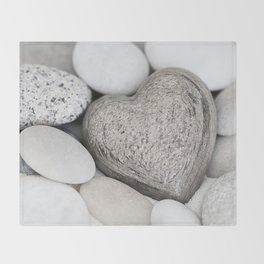 Stone Heart and pebble greige tones Throw Blanket