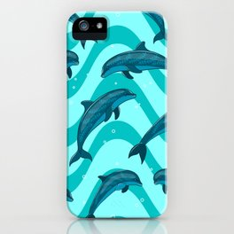 A flock of dolphins in the sea. Marine seamless pattern. iPhone Case