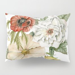 Wildflower Bouquet on White Pillow Sham